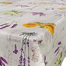 Mantel para mesa de hule, lavable, lavanda de la provenza, tamaño a elegir, plástico, carbón, 120 x 140cm