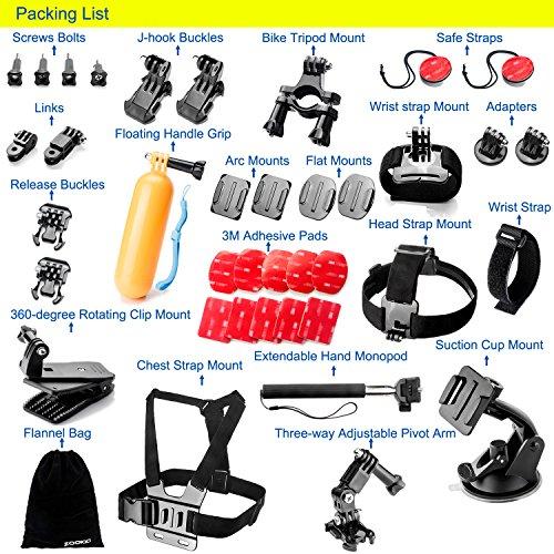 Zookki-Kit-di-Accessori-per-GoPro-Hero-5-4-3-3-2-1-Black-Silver-Macchina-fotografica-di-sport-kit-accessori-per-SJ4000-SJ5000-SJ6000Xiaomi-YilightdowwimiusDBPOWER