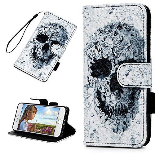 Badalink Hülle für iPhone 7 / iPhone 8 Buntes Clutter Skelett Handyhülle Leder PU Case Magnet Flip Case Schutzhülle Kartensteckplätzen und Ständer Handytasche mit Eingabestifte und Staubschutz Stecker Clutter Skelett