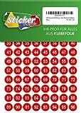 250 nummerierte Klebepunkte, 15 mm, rot, aus PVC Folie, wetterfest, Markierungspunkte Kreise Punkte Zahlen Nummern Aufkleber