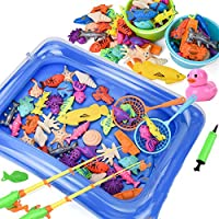 Kids Fishing Game Magnetic 3D Model Fish Playsets for Kids, 50 Pcs with Pool and Inflator, Assorted