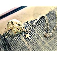 collana dente di leone ciondolo stella in argento sterling 925 - tarassaco soffióne personalizzato pendente argento finissimo con PACCO REGALO Regalo di Festa Della Mamma