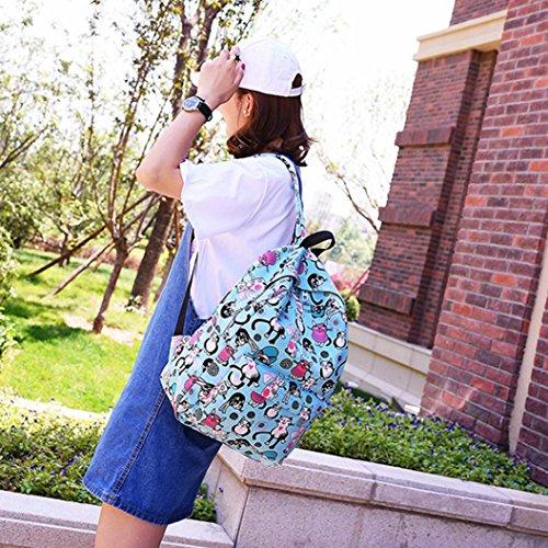 Rucksack Tasche Gripsack Rucksack Handtasche, Manadlian Mode Neutral Schulranzen Büchertasche Karikatur Bilder Tasche Hellblau
