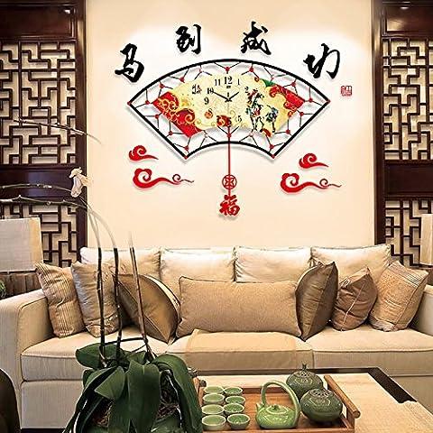 Henggang China reloj de viento ,26 , en el estanque de loto (y tan pronto como sea posible. China Home Office Decoración Moda creativa vida moderna decoración colorida regalo único reloj de pared de silencio