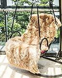 Faux Lammfell Schaffell Teppich ,HLZDH Kunstfell Dekofell in Super weich Lammfellimitat Teppich Longhair Fell Optik Nachahmung Wolle Bettvorleger Sofa Matte (Rechteckig Braun, 50 X 150 CM)