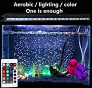 LED Aquarium Light IP68 Waterproof Fish Tank Light Mutil-Color & Dimmable & Air Bubble Lamp Submersible Underwater Lights wi