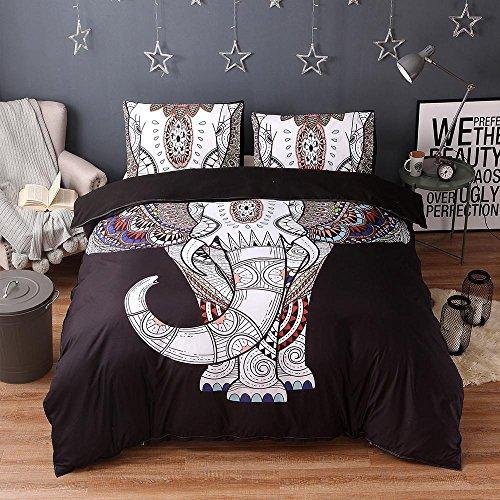Bettwäsche bett set helle farben elefant muster Easy Care 100% Polyester Bettbezug 200 * 200 & 2 Kissenbezüge 50 * 70 bettdecke set (Doppel, schwarz und weiß) , black , 200*230cm (Und Weiß Doppel-schwarz)