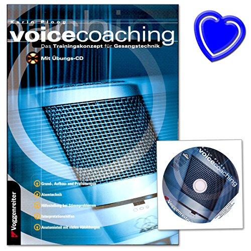 Buchcover Voicecoaching - Trainingskonzept für Gesangstechnik von Karin Ploog - für Selbststudium, Unterrichtshilfe oder Studienbegleiter - Buch mit CD und mit bunter herzförmiger Notenklammer