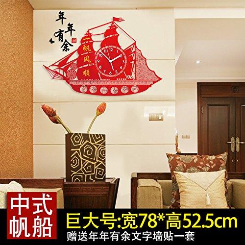 Y-Hui Wanduhr Wohnzimmer Schlafzimmer Uhren Mute Quarzuhr Segeluhren Schlafzimmer Tisch, 26 Zoll, die sehr große Zahl 78 * 52,5 cm hinaus Wandhalterung