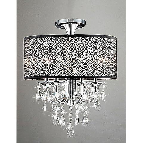 PJSKJZQ Modern Drum 60W luz de techo con 4 luces y bolas de cristal , 220-240v