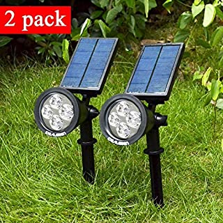 Idealeben 2-in-1 Solar Powered LED Landscape Lighting - Waterproof - 180° angle Adjustable - Auto-on At Night/Auto-off By Day Outdoor Wall Light Landscaping Lights Bulb Spotlight(200 Lumen,Black, 6500K, 2 pcs)