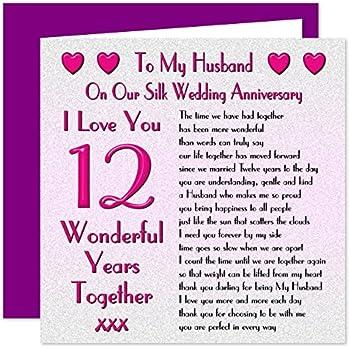 My Husband 12th Wedding Anniversary Gift Set - Card ...