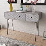 furnituredeals Beistelltische mit Seiten aus MDF mit Edelstahl-Regal/Grau Konsolentisch mit 3Schubladen