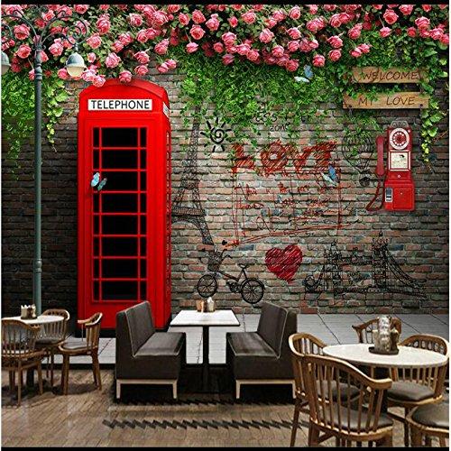 LHDLily 3D Tapete 3D Wallpaper Fresken Wandbilder Verdicken Wand Papierrollen Foto Für Wallss London Telefon Pavillon Rose Hintergrund Tapete Home Improvement 200Cmx150Cm