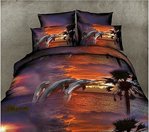 4 Dusk Dolphin 3D Tier Bedruckte Bettwäsche Sets Queen Size Bettwaren
