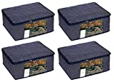 #7: HomeStrap Quilted 4 Piece Fabric, Saree Cover, Large, Navy Blue