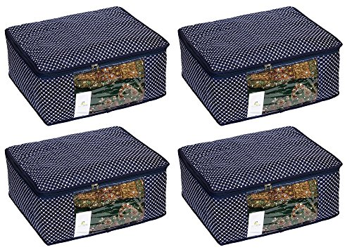 HomeStrap Quilted 4 Piece Fabric, Saree Cover, Large, Navy Blue