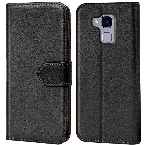 Verco Huawei GT3 Hülle, Handyhülle für Huawei GT3 > Honor 5C > Honor 7 Lite Tasche PU Leder Flip Case Brieftasche - Schwarz