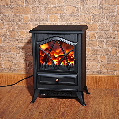 homcom 1850w log burning flame effect stove heater. Black Bedroom Furniture Sets. Home Design Ideas