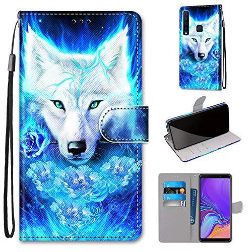 Miagon Flip PU Leder Schutzhülle für Samsung Galaxy A9 2018,Bunt Muster Hülle Brieftasche Case Cover Ständer mit Kartenfächer Trageschlaufe,Rose Wolf
