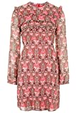 Topshop Floral Print Ruffle Dress Hot Pink Victorian Edwardian Vintage Mini 70s (UK 6)