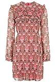 Topshop Floral Print Ruffle Dress Hot Pink Victorian Edwardian Vintage Mini 70s (UK 6)