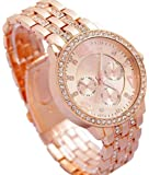 BID Diamond Studded Analogue Girls' & Women's Watch (Gold Dial Rose Gold Colored Strap)