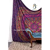 Tapestry Queen Flower Hippie tapestries Mandala Bohemian Psychedelic Intricate Indian Bedspread 92x82 Inches Aakriti Gallery Brand Name: Aakriti Gallery (Purple)