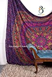Tapestry Queen Purple Flower Beautiful Artwork Mandala Mandala Beach BedSpread Intricate Indian Bedspread Tapestries 92x82 Inches by Aakriti Gallery