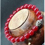 Affaires Semi Precious Stone Yoga & Meditation Buddha Reiki Healing Beads Diffuser Beads Bracelets Unisex Color Maroon ( B-9 )