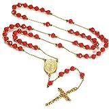 Faithheart - Collana a forma di corona del rosario di rito cattolico, perline metalliche e in vetro, regalo di Natale per uom