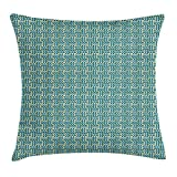 Abstract Throw Pillow Cushion Cover, Vintage Wavy Ethnic Swirling Stripes Symmetric Carpet Style Motif, Decorative Square Accent Pillow Case, 18 X 18 Inches, Pale Blue Teal Pale Green