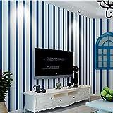 Reyqing Non Woven Fabric, Modernen, Minimalistischen, Vertikal Gestreifte Wohnzimmer, Schlafzimmer, Hintergrund, Wand, Tapete, Dunkle Blau, Weiß 86160, Dunkelblau, Weiß, Wallpaper Nur