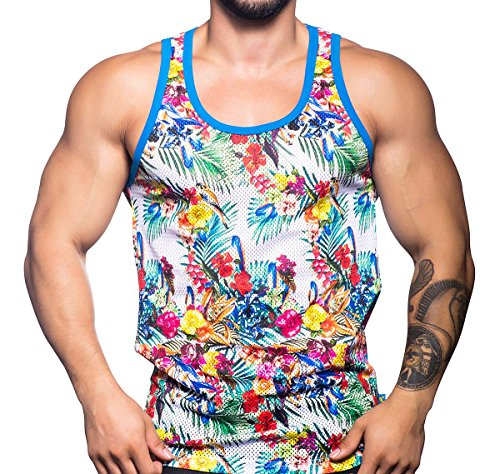 Andrew Christian Herren Mesh Tank Top Tropical Sports Tank 2619, Mehrfarbig (Top - Mesh Herren Tank)