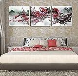 Raybre Art Chinesischen stil plum druck Rot pflaume abbildung ölgemälde Moderne Leinwand Kunstwerk abstrakte Bilder Gedruckt auf Leinwand Wandkunst für schlafzimmer Büro