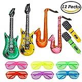 Keriber 12 Stück Aufblasbare Gitarre Mikrofon Saxophon Shutter Shading Brille Aufblasbare Rock Star Spielzeug-Set Music Part