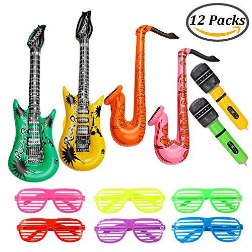Keriber 12 Stück Aufblasbare Gitarre Mikrofon Saxophon Shutter Shading Brille Aufblasbare Rock Star Spielzeug-Set Music Part (Rock Brille)