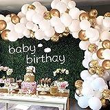 Ballonger guld vit, Aivatoba luftballong krans guld konfetti ballonger matellisk latex helium ballonger dekoration för babypa