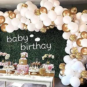 Luftballons Gold Weiß Aivatoba Luftballon Girlande Gold Konfetti Ballons Matellic Latex Helium Ballons Deko Für Babyparty Hochzeit Mädchen Kinder Geburtstag Party Dekoration Silvester Deko Küche Haushalt