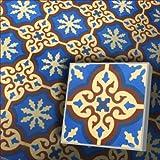 Zementfliese Iraquia blau creme Muster Fleckstop