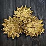 Embroiderymaterial Gota Patti Flowers Appliques Patches for Embroidery Decoration and Craft Making(Dark Gold Color,10 Pieces)