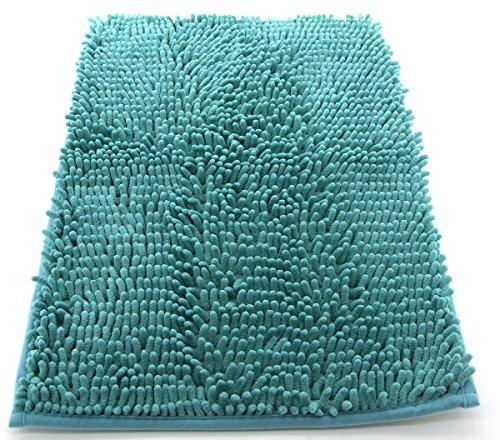 Tappeto da bagno camera ingresso e cucina, a pelo lungo 2.5 cm, materiale in microfibra, scendi doccia morbida, assorbente, lavabile in lavatrice, retro in gomma antiscivolo verde 50x80cm
