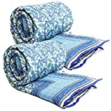 Shopnetix Lovely Traditional Blue & White Shade Single Bed Cotton Quilt-Set of 2