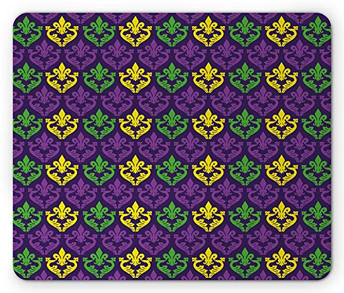 WYICPLO Mardi Gras Mouse Pad, Antique Old Fashioned Motifs in Mardi Gras Holiday Colors Tile Pattern, Standard Size Rectangle Non-Slip Rubber Mousepad, Purple Green ()