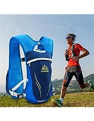 AONIJIE Unisex 5.5L Running Race Hidratación Chaleco Hidratación Pack Mochila (Azul)