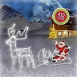 Weihnachtsdeko Figuren 432 LED Weihnachtsmann mit Rentier Schlitten Weihnachtsbeleuchtung für Innen und Außen Weihnachtsdekoration Weihnachtsschlitten Lichterschlauchfigur