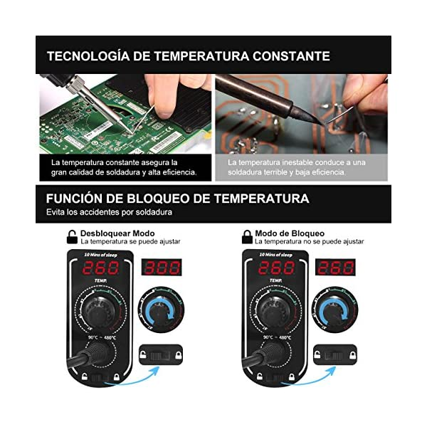 Estación de Soldadura, HoLife 60W Digital 90-480℃ Kit del Soldador Eléctrico