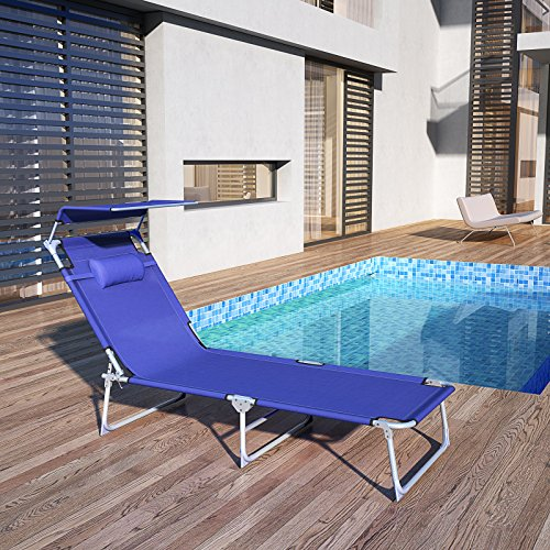 SONGMICS Sonnenliege mit Sonnendach extra groß, verstellbar, Liegestuhl klappbar mit Kopfkissen ,max. Belastbarkeit: 250 kg Grau 210 x 72 x 34 cm (Blau) - 2