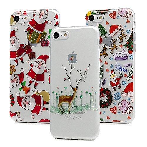 3x Cover iPhone 7 Plus, iPhone 8 Plus Custodia Silicone Morbido Trasparente TPU Flessibile Gomma design IMD - MAXFE.CO Case Ultra Sottile Cassa Protettiva per iPhone 7 Plus / iPhone 8 Plus - Natale 2 Natale 1