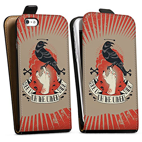 Apple iPhone X Silikon Hülle Case Schutzhülle Rabe Gothic Hand Downflip Tasche schwarz